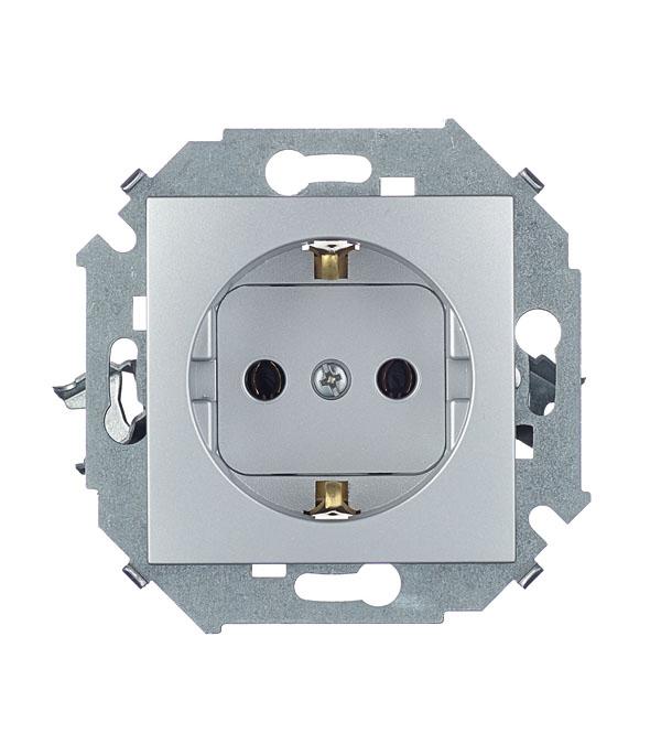 Розетка Simon 15 1591432-033 скрытая установка алюминий с заземлением механизм выключателя двухклавишный simon 15 с индикацией 16а белый