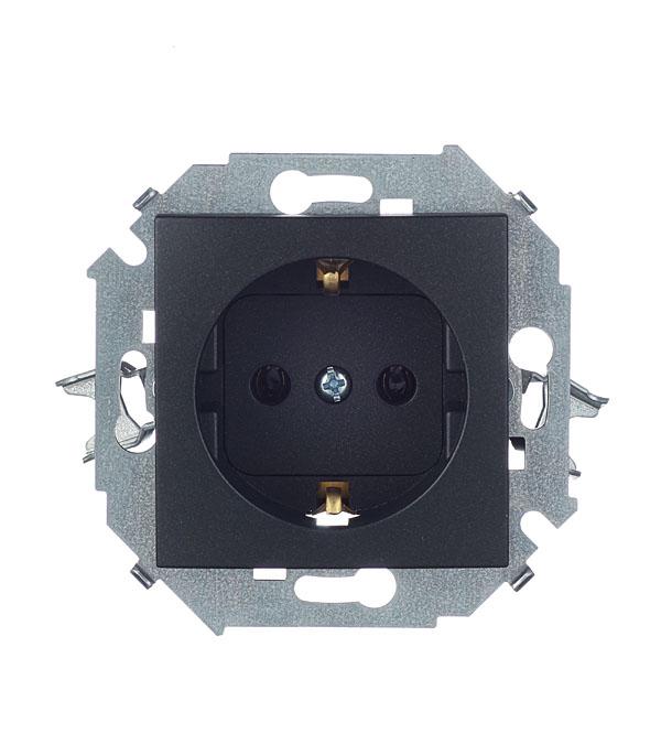 Розетка Simon 15 1591432-038 скрытая установка графит с заземлением механизм выключателя двухклавишный simon 15 с индикацией 16а белый