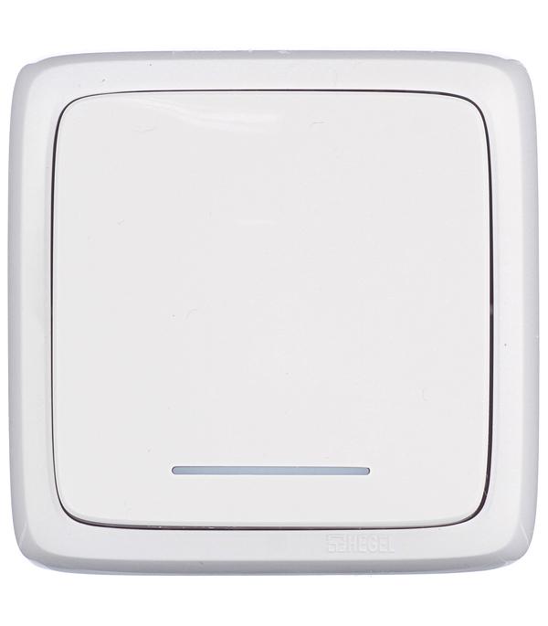 Выключатель одноклавишный HEGEL Alfa о/у с индикацией белый выключатель двухклавишный о у с индикацией hegel slim белый
