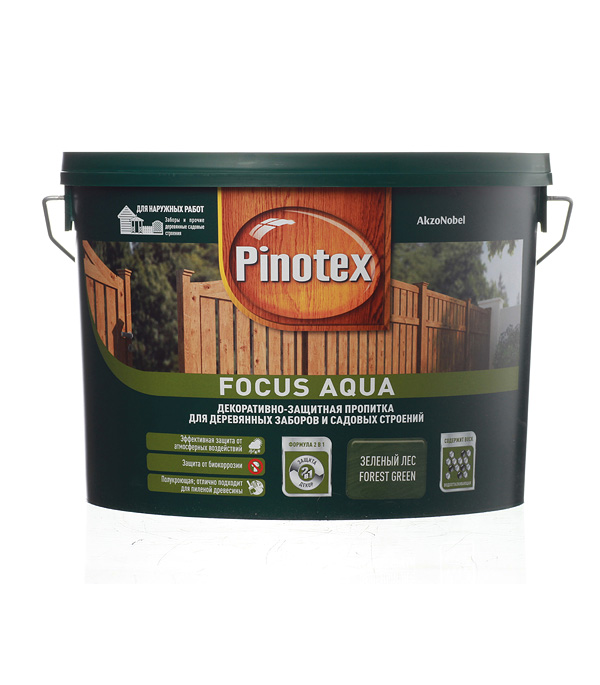 Декоративно-защитная пропитка для древесины Pinotex Focus Aqua зеленый лес 9 л