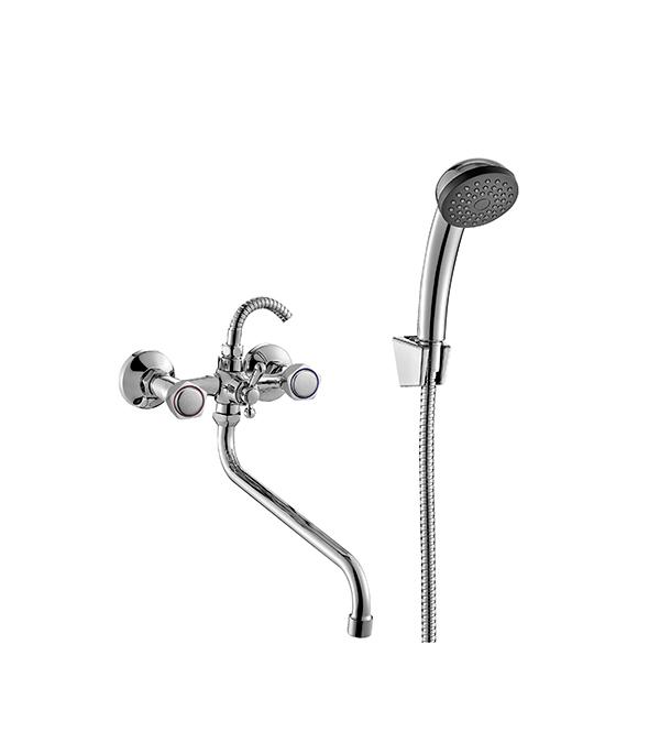 Смеситель для ванны и душа MITTE OLDIE OLD01BL с длинным изливом двухвентильный с лейкой смеситель для ванны и душа wasserkraft aller 1062l white с длинным изливом 9061184