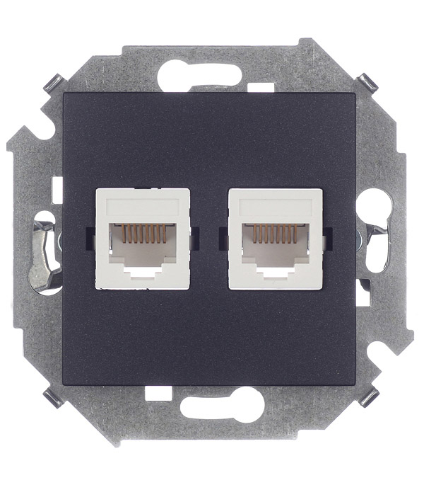 Розетка компьютерная Simon 15 1591593-038 скрытая установка графит два модуля RJ45 cat 5e розетка с рамкой simon 15 1590459 038 двойная скрытая установка графит с заземлением
