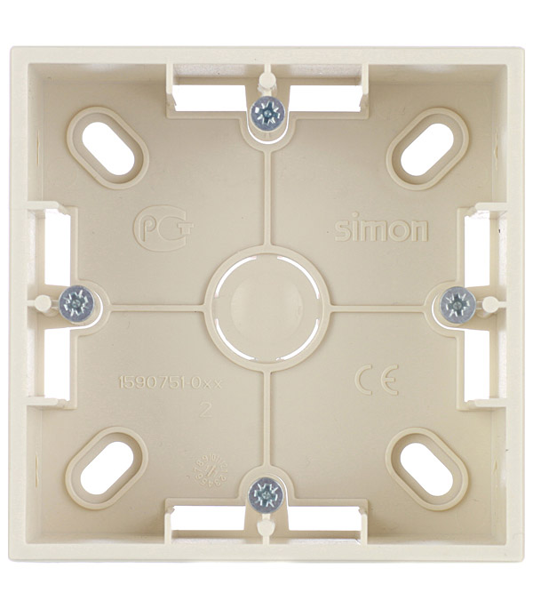 Монтажная коробка для накладного монтажа 1 пост слоновая кость Simon 15 монтажная коробка для накладного монтажа 2 поста графит simon 15