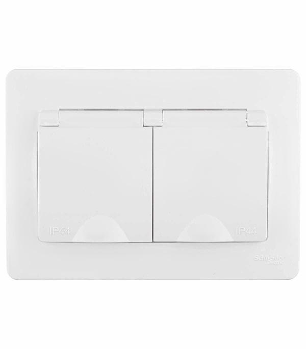 цена на Розетка двойная с заземлением со шторками  с/у  Schneider Electric Blanca влагозащищенная IP44 белый