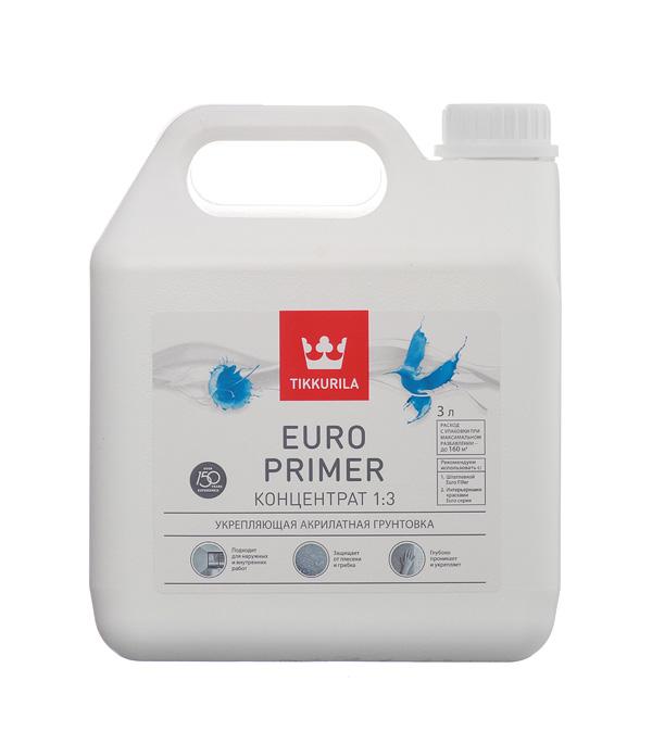 Купить Грунт Euro Primer Тиккурила 3 л, Tikkurila, Прозрачный