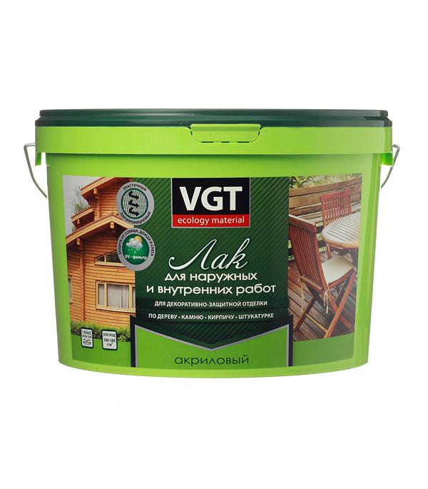 Лак акриловый для наружных и внутренних  работ VGT бесцветный 9 кг матовый