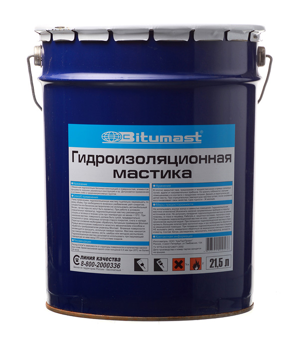 Мастика гидроизоляционная Bitumast 18 кг/21.5 л обезжириватель bitumast 0 7 кг 1 л