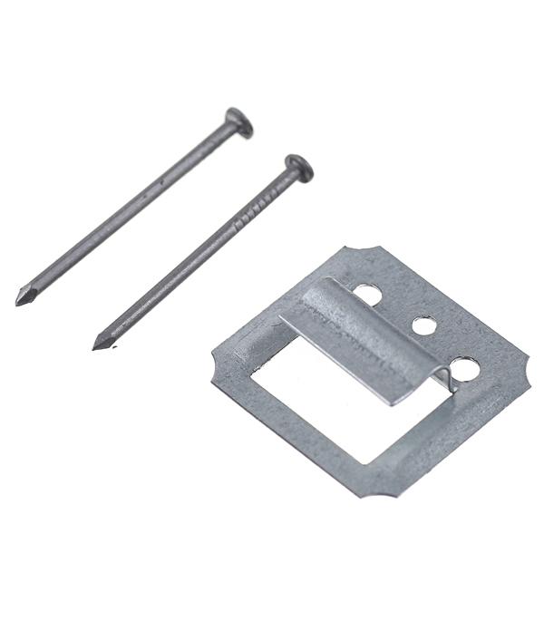 Крепеж кляймер №4 с гвоздями для вагонки и блок хауза (100 шт)