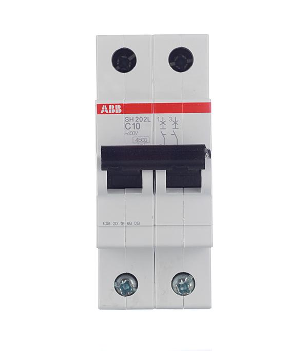 Автомат 2P 10А тип С 4.5 kA ABB SH202L автомат 3p 63а тип с 6 ka abb s203