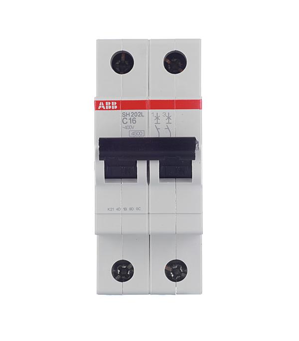 Автомат 2P 16А тип С 4.5 kA ABB SH202L автомат 3p 63а тип с 6 ka abb s203