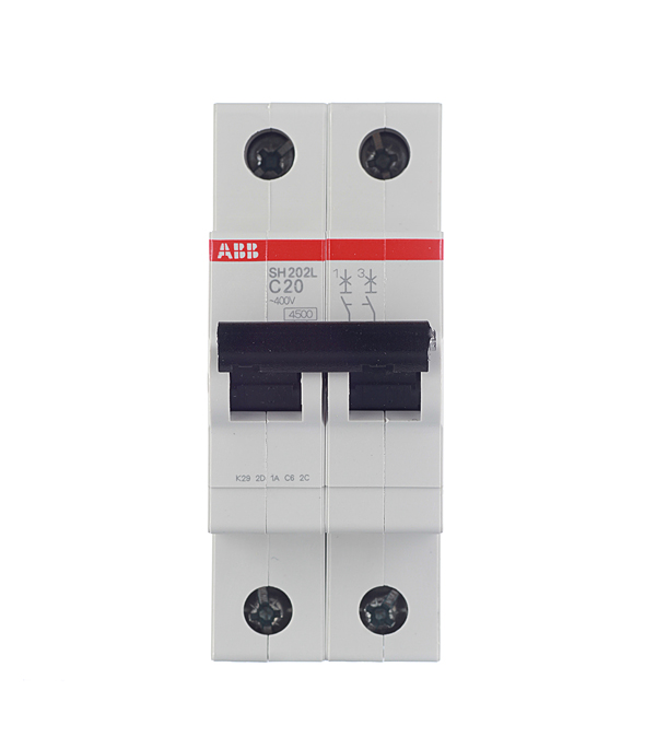 Автомат 2P 20А тип С 4.5 kA ABB SH202L автомат 3p 63а тип с 6 ka abb s203