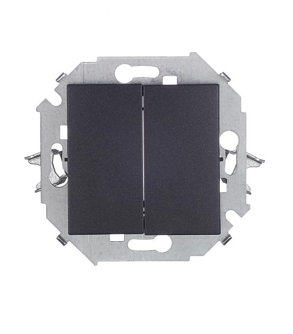 Выключатель двухклавишный 16А 250В винтовой зажим графит Simon 15 выключатель simon 1594104 31