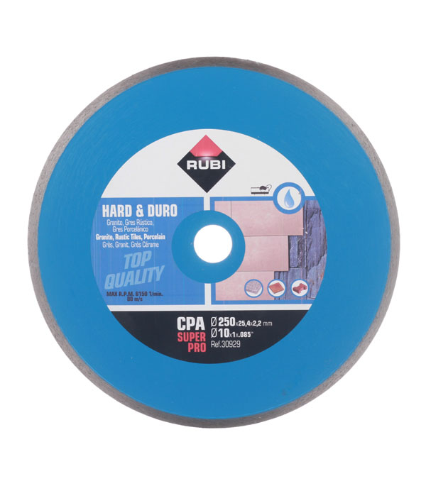 Диск алмазный сплошной по керамограниту Rubi CPA 250х25.4 мм диск алмазный сплошной по керамике 150х22 2 мм shaft
