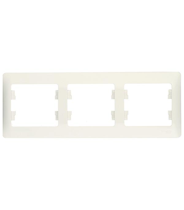 Рамка трехместная Schneider Electric Glossa белая рамка одноместная schneider electric glossa белая
