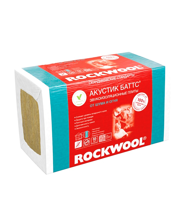 Звукоизоляция ROCKWOOL Акустик Баттс 1000х600х100 мм 3 кв.м