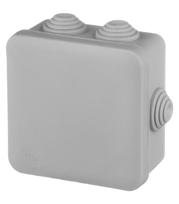 Коробка распределительная Schneider Electric для открытой установки 85х85х40 мм 6 вводов серая IP55
