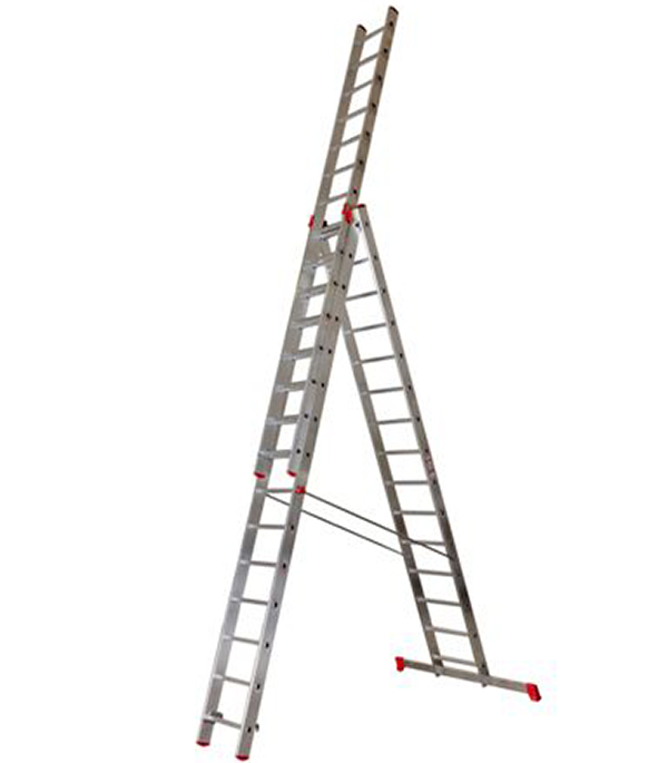 Лестница Новая высота 3-х секционная профессиональная 3х15 лестница krause 3 х секционная профессиональная 3х14