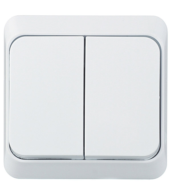 Выключатель двухклавишный Этюд о/у белый выключатель одноклавишный о у ip 44 schneiderelectricэтюдбелый