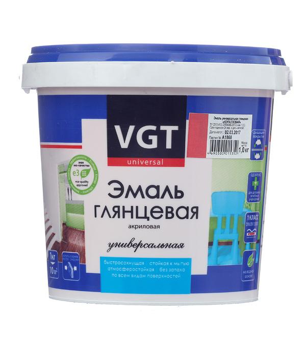 Эмаль акриловая глянцевая коралловая VGT 1 кг грунт концентрат vgt водостоп акрил 1 кг