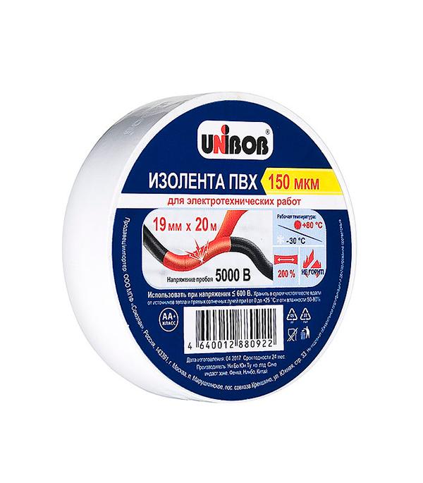Изолента Unibob ПВХ белая 19 мм 20 м