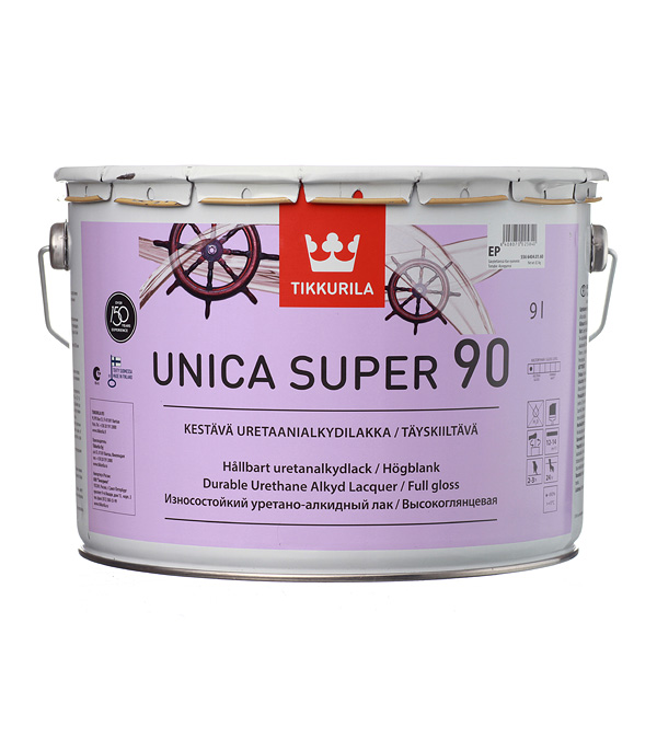 цена на Яхтный лак Tikkurila Unica Super основа EP глянцевый 9 л