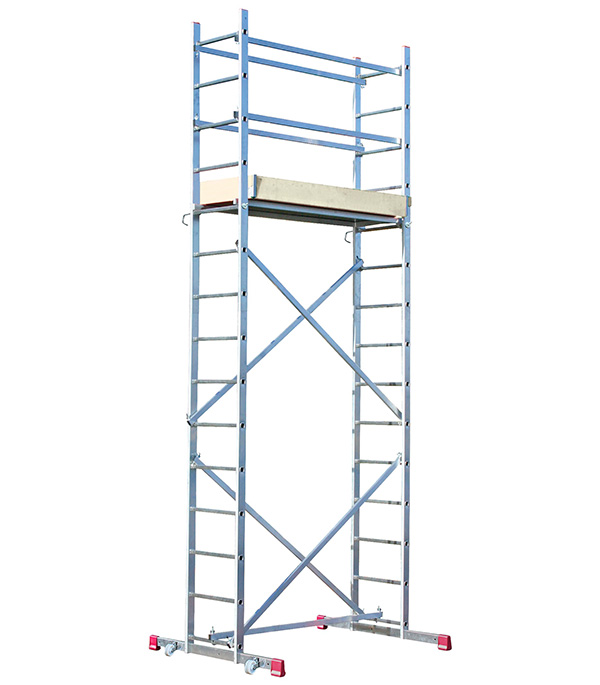 Вышка-тура Krause алюминиевая 4 м рабочая высота 5 м свободностоящая стремянка krause monto solidy 8 ступенек рабочая высота 3 7 м 126269