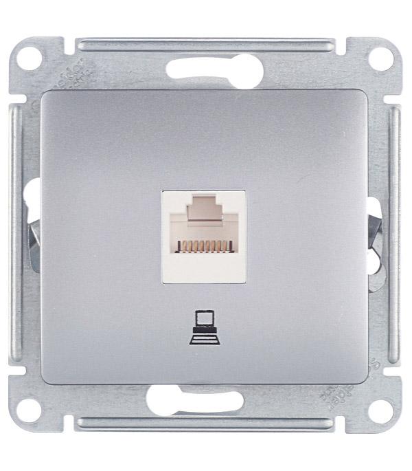 Механизм розетки компьютерной с/у Schneider Electric Glossa алюминий механизм розетки компьютерной с у schneider electric unica бежевый