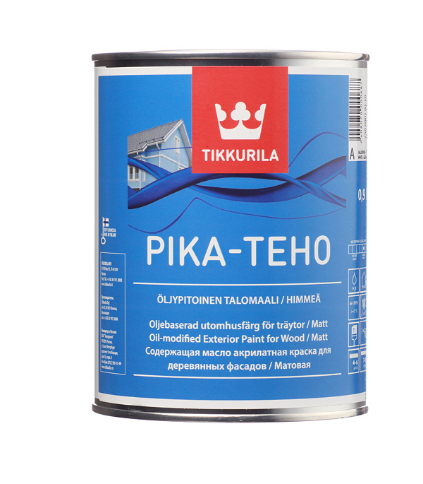купить Краска водно-дисперсионная для деревянных фасадов Tikkurila Pika-Teho белая основа А 0,9 л онлайн