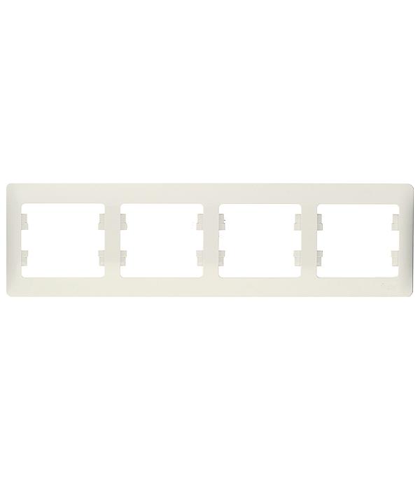 Рамка четырехместная Schneider Electric Glossa белая рамка одноместная schneider electric glossa белая