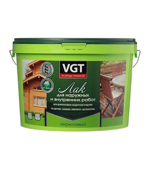 Лак акриловый для наружных и внутренних  работ VGT бесцветный 9 кг глянцевый