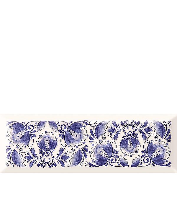 Плитка декор 100х300х8 мм Метро Гжель 01 бело-синий цены онлайн