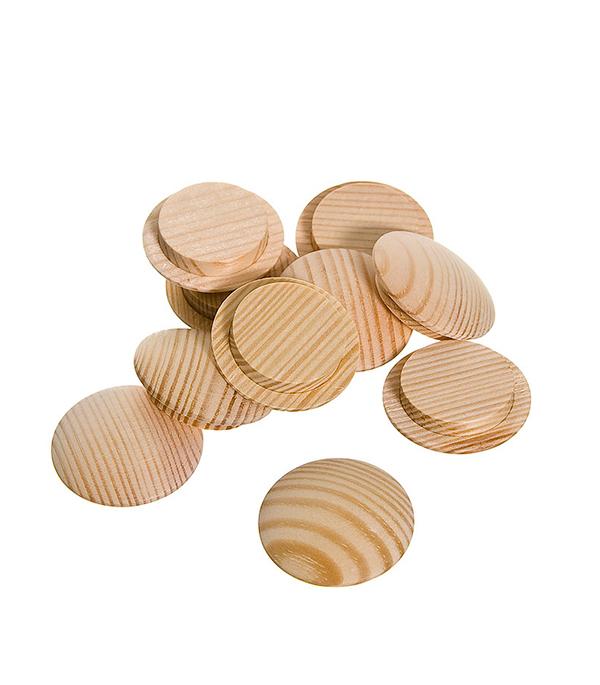 Заглушка деревянная круглая сосна диаметр 20 мм (10 шт)
