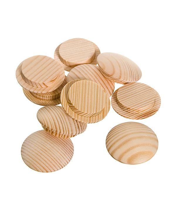 Заглушка деревянная круглая сосна диаметр 25 мм (10 шт)