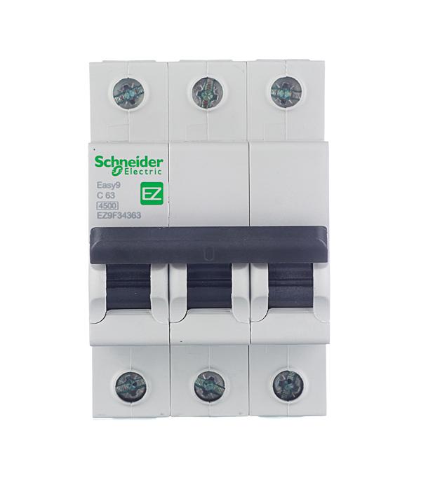 Автомат 3P 63А тип С 4.5 kA Schneider Electric Easy9 автомат 3p 63а тип с 6 ka abb s203