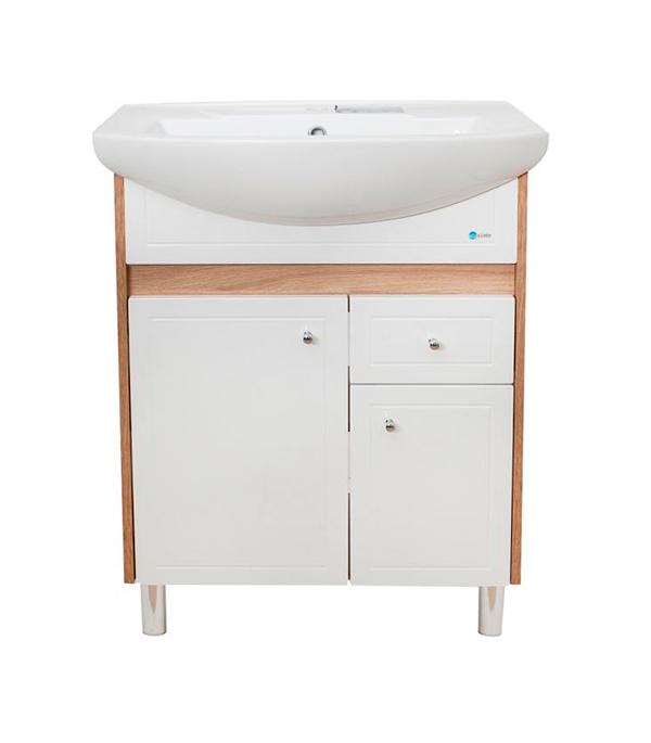 Тумба под раковину АСБ-Мебель Магнолия 600 мм напольная дуб янтарный/бел тумба под раковину асб мебель магнолия 600 мм напольная дуб янтарный бел