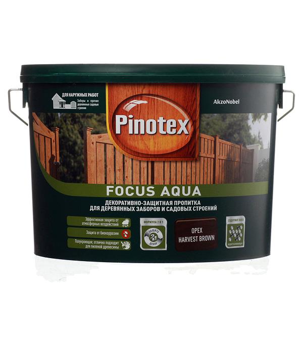 Декоративно-защитная пропитка для древесины Pinotex Focus Aqua орех 9 л