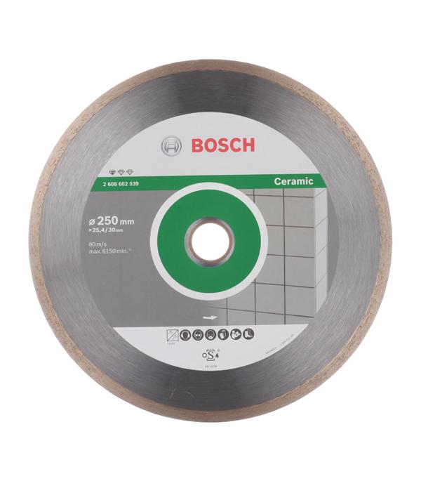 Диск алмазный сплошной по керамике Bosch Professional 250х30/25.4 мм диск алмазный сплошной по керамике 180х25 4 22 2 мм shaft