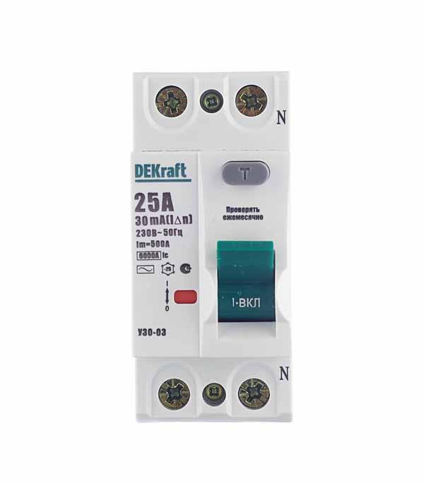 УЗО 2P, 25А, 30мA, тип AС, 6кА, Dekraft УЗО-03 автоматический выключатель 1p 25а dekraft
