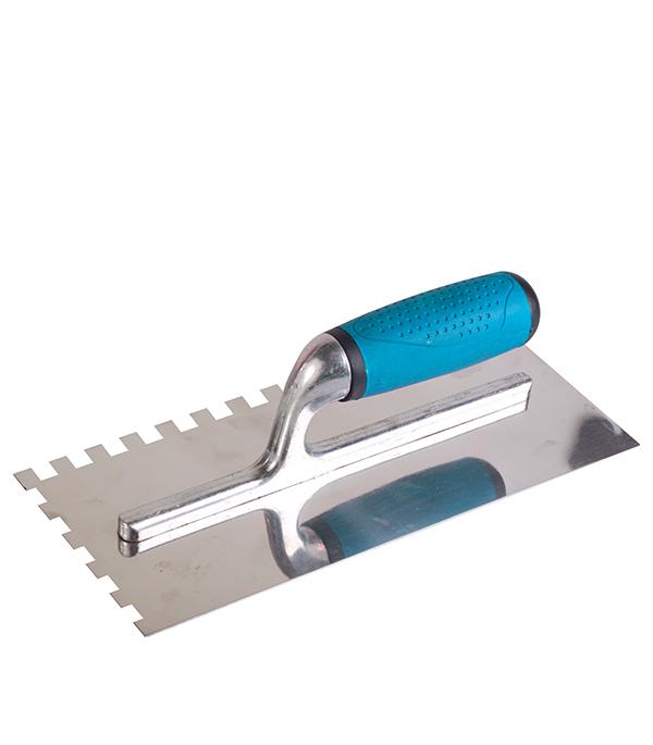 Гладилка зубчатая Brigadier 280х130 зуб 8х8 мм гладилка c двухкомпонентной ручкой нержавеющая сталь 280х130 мм