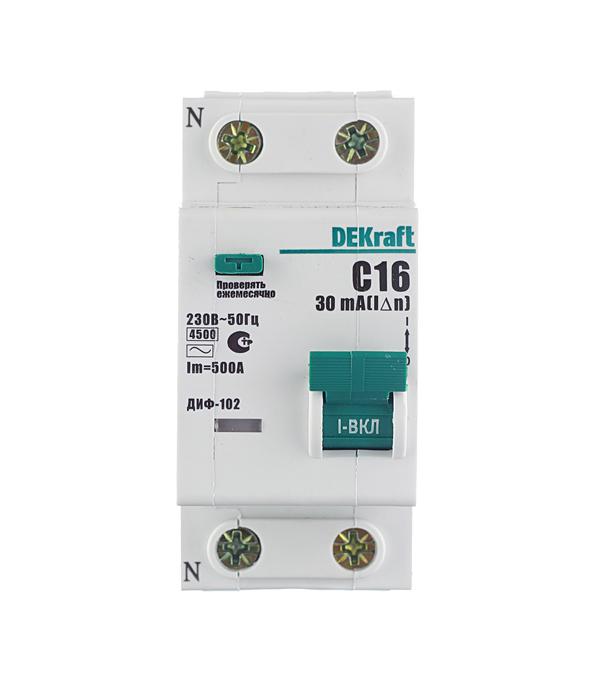 Автомат дифференциальный 1P+N, 16А, тип АC, 30мА, 4,5кА, Dekraft ДИФ-102 автоматический выключатель 1p 25а dekraft