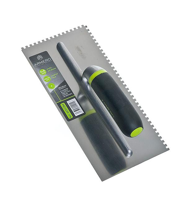 Гладилка зубчатая Armero 280х130 мм зуб 4х4 мм гладилка c двухкомпонентной ручкой нержавеющая сталь 280х130 мм