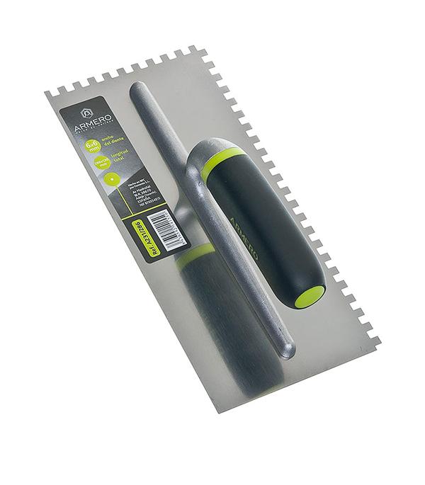 Гладилка зубчатая Armero Стандарт 280х130 мм зуб 6х6 мм гладилка c двухкомпонентной ручкой нержавеющая сталь 280х130 мм