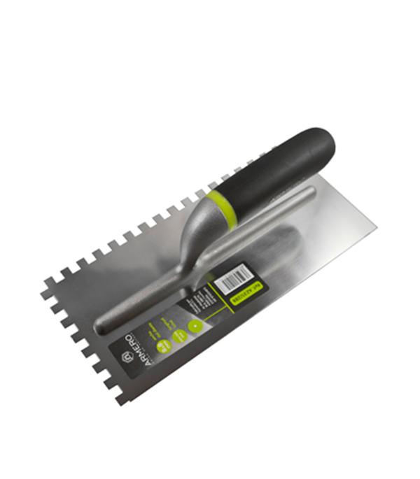 Гладилка зубчатая Armero 280х130 мм зуб 8х8 мм гладилка c двухкомпонентной ручкой нержавеющая сталь 280х130 мм