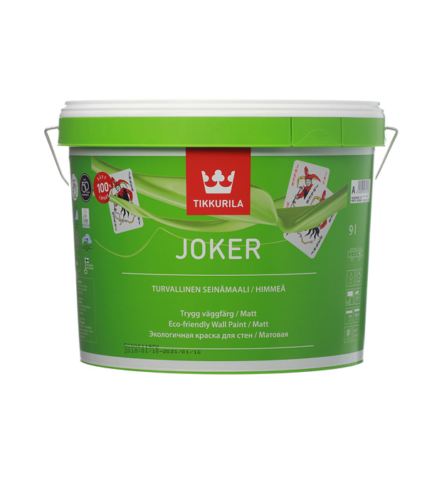 Краска в/д Tikkurila Joker акрилатная основа А матовая 9 л краска в д eskaro akzent 35 полуглянцевая акрилатная 9л бел