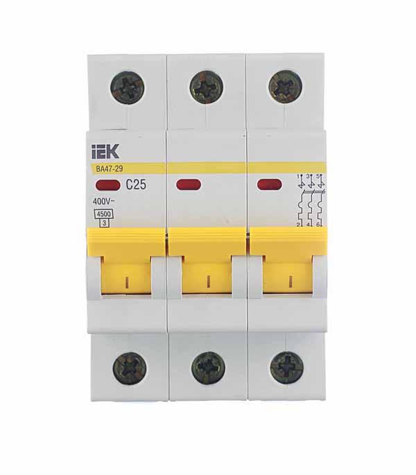 Автомат 3P 25А тип С 4.5 kA IEK ВА 47-29 автомат 1p 63а тип с 4 5 ka iek ва 47 29