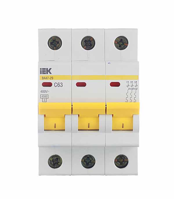 Автомат 3P 63А тип С 4.5 kA IEK ВА 47-29 автомат 1p 63а тип с 4 5 ka iek ва 47 29