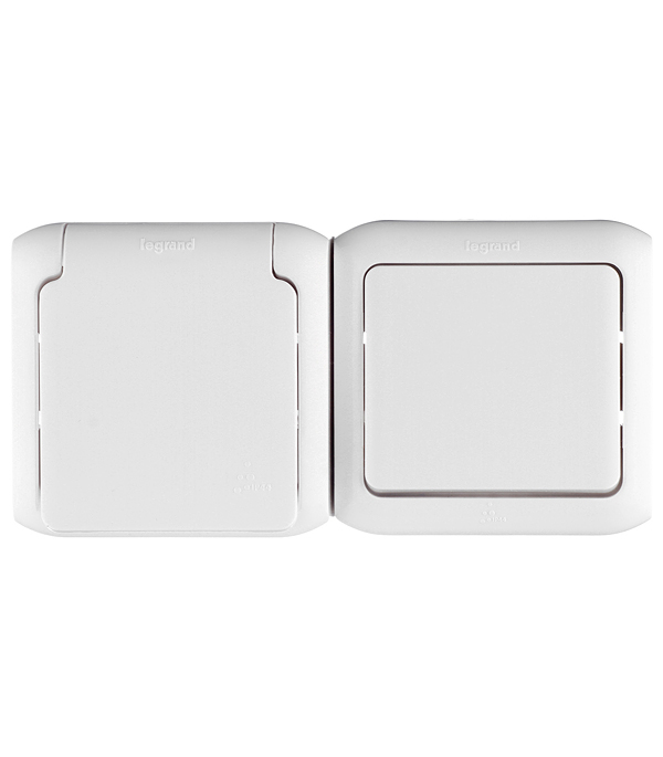 Блок о/у одноклавишный выключатель+ розетка с з/к со шторками IP44 белый системный блок