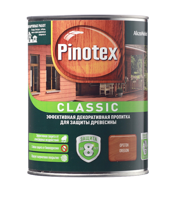 Купить Декоративно-защитная пропитка для древесины Pinotex Classic орегон 1 л, Орегон
