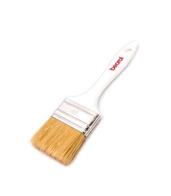 Кисть плоская Beorol 60 мм натуральная щетина пластиковая ручка кисть плоская 60 мм натуральная щетина прорезиненная ручка hardy стандарт