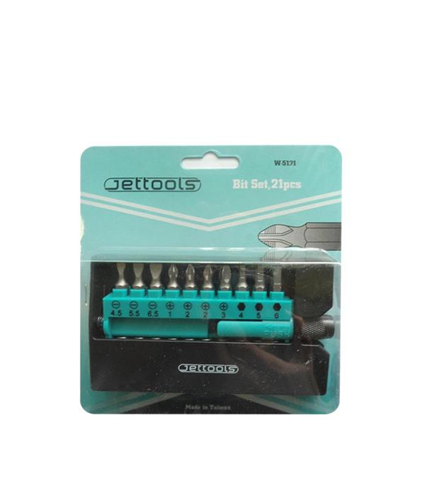 Набор бит с адаптером Jettools PH PZ SL TORX HEX (20 шт) держатель для бит jettools профи магнитный быстросъемный 150 мм